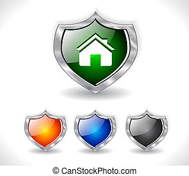 Shields with web icon. Vector. - Color metal shields with...