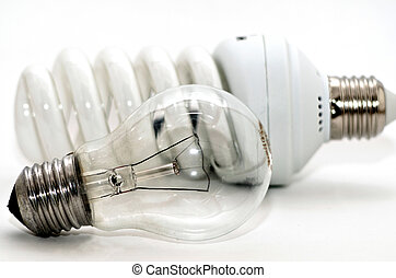 Light Bulbs - Two generations of light bulbs. Regular...