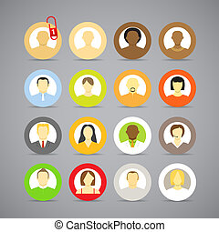 Collection of vector account icons of men and women....