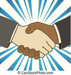 Illustration of two businessmen shaking hands Good deal