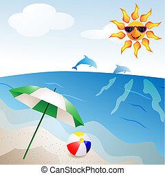 Beach with umbrella