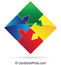 puzzled arrows - Set of Puzzles with arrows as teamwork...