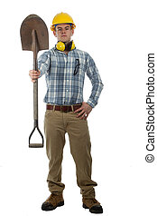 man with shovel and hard hat - man construction worker with...