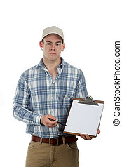 man with clip board