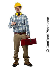 Construction Worker with tool box - youth with tool box and...