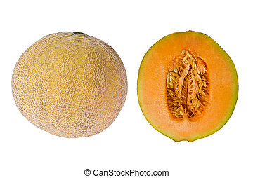 Cantelope (Cucumis melo) - Composite of a whole and sliced...