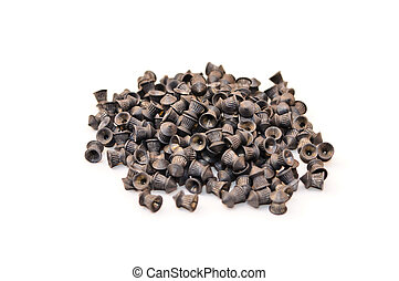 Lead pellets for air guns. Isolated on white background
