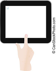 White Tablet PC with man hand
