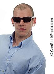 cool dude - handsome portrait of man in vintage sunglasses