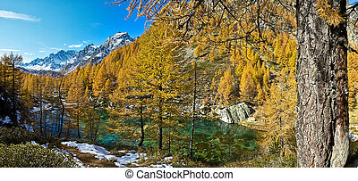 Lake of the witches (blue lake) Alp Devero - panoramic view...