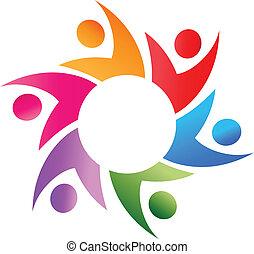Teamwork around logo vector - Teamwork business people...
