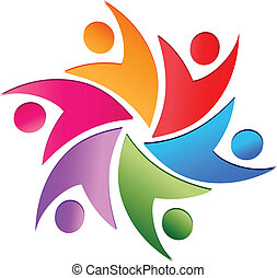 Teamwork swoosh logo vector - Teamwork business people logo...