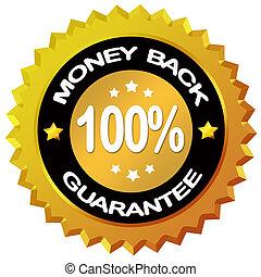 Money back guarantee label isolated on white background