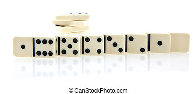 Domino row of white dominoes isolated on white background