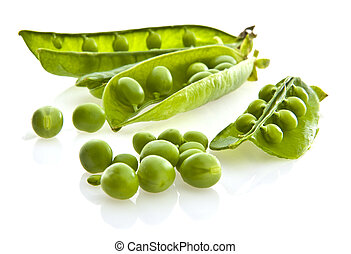 Fresh green pea pod and peas on white background.