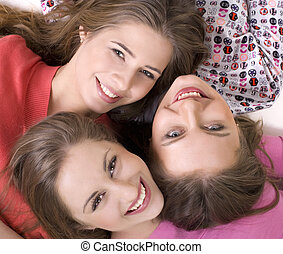 Portrait of three happy girls - Portrait of three young...