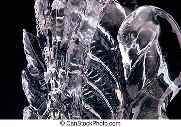 ice sculpture on a black background