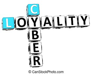 3D Cyber Loyalty Crossword on white background