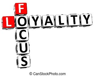 3D Focus Loyalty Crossword on white background