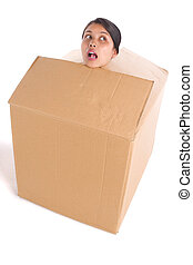 Stuck inside the box - A head of young woman is stuck inside...