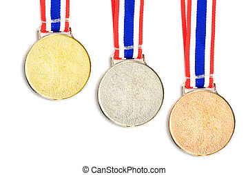 gold, silver, bronze Medal and Ribbon - gold, silver, bronze...