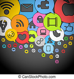 Color media icons in abstract speech clouds