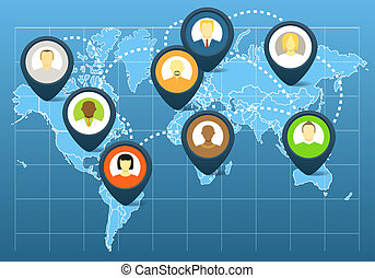 World social network scheme on the map of earth