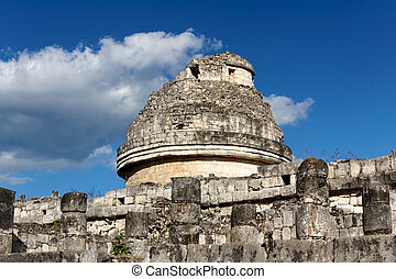 Mayan Observatory at Chichen Itza - Mayan ruin thought to be...