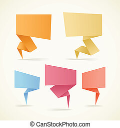 Colorful polygonal origami banners. Place your text here