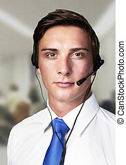 business man in a shirt making a call on the phone wear a head set