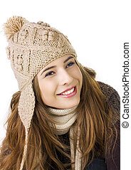 Pretty teen on a white background