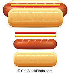 Hotdog stylized with ketchup and mustard isolated on white...