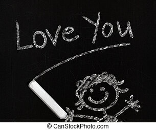 Love you - 'Love you' phrase drawing with chalk on a...