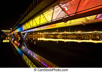 Colorful Bridge in Tempe Arizona - Colorful light rail...