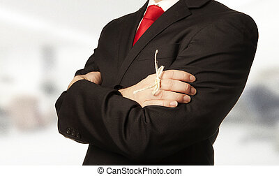 remember - man in business suit with a knot around his...