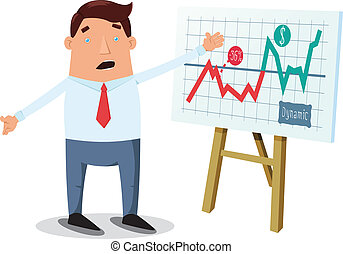 Office worker and presentation - Office worker showing chart...
