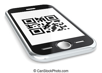 QR - Black smartphone with a sample QR Code