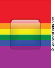 Square Glass Glossy Button Gay