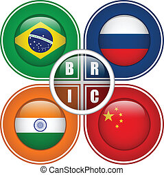 BRIC Countries Buttons - Vector - BRIC Countries Buttons...