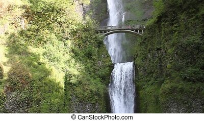 Multnomah Falls is in Oregon. This is a central view of the...