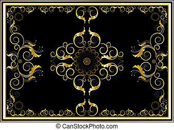 Oriental gold ornaments for rug in