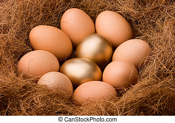 Egg series : Probability 2:8 - zoom - two golden eggs...