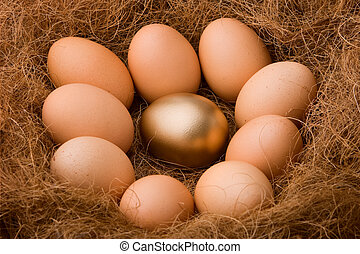 huevo, serie, :, Uno, dorado, entre, nueve, ordinaries, -,...