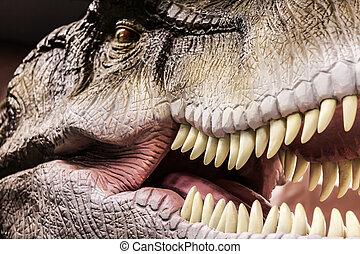tyrannosaurus, actuación, el suyo, boca, dentudo