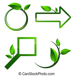 Different signs with green leaves - Different eco label...
