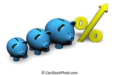 Growth Savings - A funny growing piggybank or moneybox with...