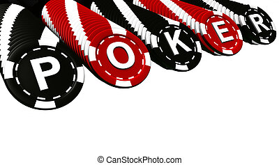 Poker Chips Rows - Poker sign on black and red colored chips...