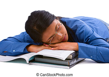 Falling asleep - A female student felt asleep after study...