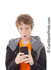 shocked cell or mobile phone - shocked kid reading message...