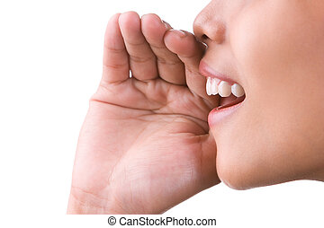 Can you hear me? - A woman try to whisper or screaming